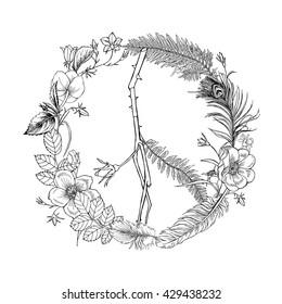 Boho Hippie Peace Sign Wreath. Vector illustration.