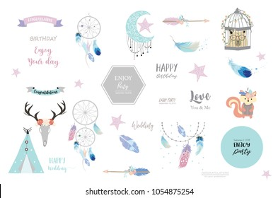 boho icons with feather,squirrel,wild,moon,star,arrow,cage,bear and tent