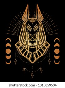 Boho illustration with Anubis head - egyptian God of death and war. Symbol of next world, kingdom of dead