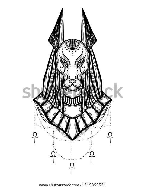 Boho Illustration Anubis Head Egyptian God Stock Vector (Royalty