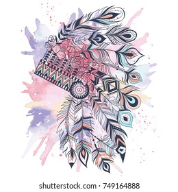 Native Headress Quote Watercolor Print Indian Headress Boho Chic Tribal Decor