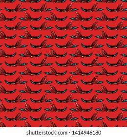 Boho leaves vector all over print. Seamless repeating pattern stripes. Red black bohemian folk motif background. Hand drawn retro fashion prints 1970s style. Wzory wallpaper, lino cut surface design.