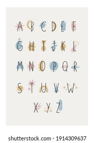 Boho magical vector illustrations. Vector witch magic design elements set. Hand drawn Magical Alphabet