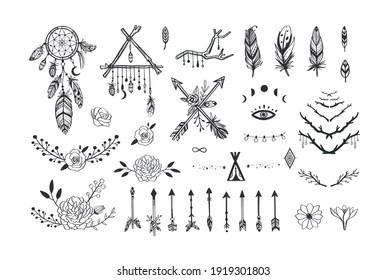 Boho mystic collection, arrows , decor elements,dreamcatchers