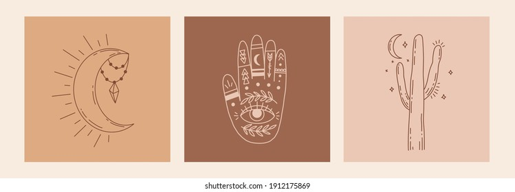 Boho mystic doodle esoteric set. Magic line art poster with hands, cactus, moon and stars. Bohemian modern vector illustration