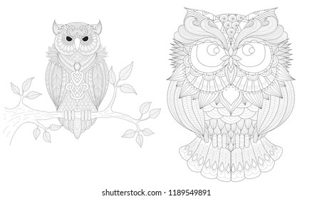 Boho owls set for tattoo, t shirt design, coloring book,coloring page for anti stress and so on. Freehand drawing. Vector illustration