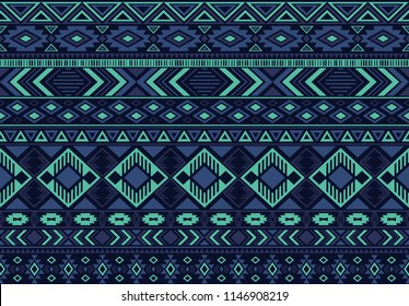 Boho pattern tribal ethnic motifs geometric seamless vector background. Fashionable boho tribal motifs clothing fabric textile print traditional design with blue triangle and rhombus shapes.
