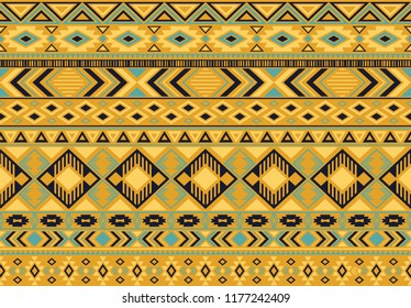 Boho pattern tribal ethnic motifs geometric seamless vector background. Chic ikat tribal motifs clothing fabric textile print traditional design with triangle and rhombus shapes.