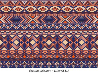 Boho pattern tribal ethnic motifs geometric seamless vector background. Rich boho tribal motifs clothing fabric textile print traditional design with triangle and rhombus shapes.