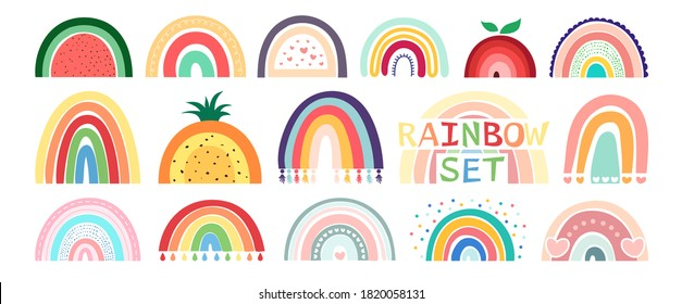 Boho rainbow set isolated on white background. In cute delicate pastel colors. Hand drawing style for posters, prints, cards, fabric, textile, children's books and decorating baby clothes.