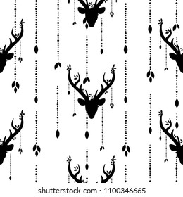 boho seamless pattern with deer head with antlers, feathers and flowers, leaves and dots. Wild nature black ornament on white background. Ethnic vector print for paper and fabric