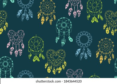 Boho seamless pattern. Dreamcatcher with feathers dark background. Ethnic design, boho chic. Textile bird feathers, talisman sweet dream. Native American indian design. Ethnic bohemian vector