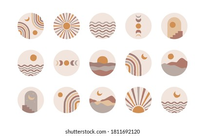 Boho social media highlight covers. Abstract stories contemporary style, sun moon story round icons, vector mid century illustration.