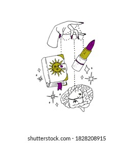 Boho spiritual hand drawn black ink line art. Woman hand with purple nails is holding grimoire book, lipstick and a brain with a cat figure on strings. Bohemian Moonchild Aesthetics.