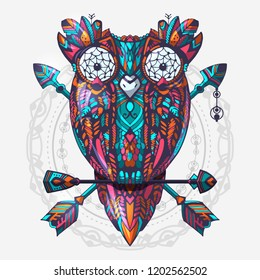 Boho style colored owl with tribal arrows. Hand drawn style vector illustration. Bohemian tribal owl with a dream catcher. Totem owl