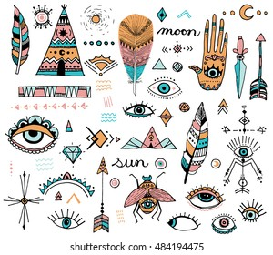 Boho Style Doodle Clip Art, Evil Eye, Hamsa, Hand of Fatima, Bohemian Design Icons