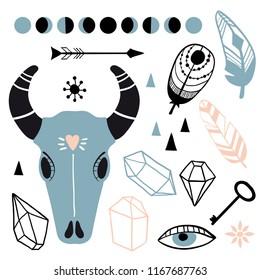Boho style hand drawn elements. Tribal free spirit hand drawn, doodle, sketch collection. Vector witch magic design elements set. Witchcraft mystery symbols: skull, moon phases, crystals, feathers