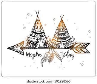 Boho style, Hand drawn Teepee or Wigwam with tribal pattern on ethnic arrow.
