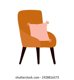 Boho style living room interior Cozy chair with pillow icon elements illustration