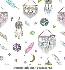 Boho style pattern. Doodle ethnic background. Tribal. Bohemian style. Folk. Ornaments. Fashion. Fabric design. Macrame. Dreamcatcher. Crochet.