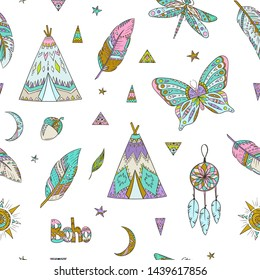 Boho style pattern. Doodle ethnic background. Tribal. Bohemian style. Folk. Ornaments. Fashion. Fabric design. Zentangle butterfly. Dragonfly. Teepee. Dreamcatcher. Feather.