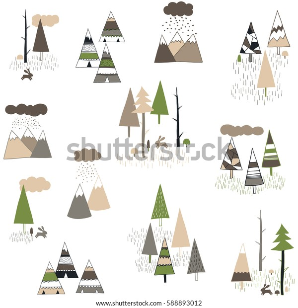 Boho style pattern with hand drawn teepee or wigwam, trees and mountains.Cute vector background.