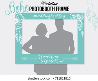 Boho style photobooth wedding frame with hashtag for sharing the photo. Blue White vector template with dreamcatcher and flowers .