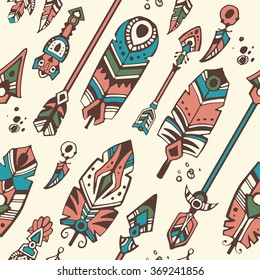 Boho style seamless pattern with tribal arrows and decorative feathers. Vector illustration.