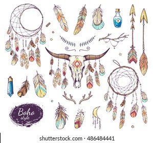 boho style set - ethnic bull skull, dream catcher with feathers; arrows, crystal, branches, horns, moon symbol; hand drawn vector illustration in sketch style; hippie or hipster design
