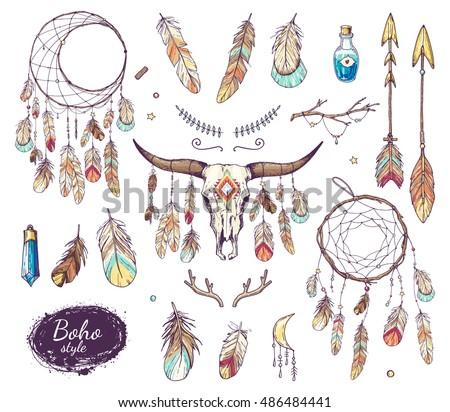 36b3ba57347 Boho Style Set Ethnic Bull Skull Stock Vector (Royalty Free ...