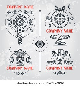 Boho style set of logos. Vector bohemian logotypes. Tribal style. Logotypes with dreams catcher, feathers, arrows, moon, owl, hamsa. Vector boho style elements. Set of totem signs