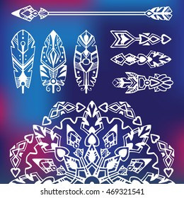 Boho style set with mandala and tribal symbols: arrows, feathers, graphic elements. Good for mehndi style tattoos. Vector illustration.