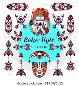 Boho style symbols vector tribal signs. Hippy vector hamsa palm, arrows, moon, mask,  feather. Decorative and tattoo style.