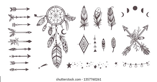 7c975b994 Boho style vector collection for tattoo, icon, flyers,cards with  Dreamcatcher, feathers