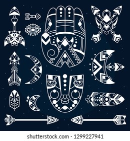Boho symbols vector illustration, bohemian decorative objects, hamsa palm, mask, feathers, crescents, tribal arrows. Boho tattoo. Bohemian print design. Dark background.