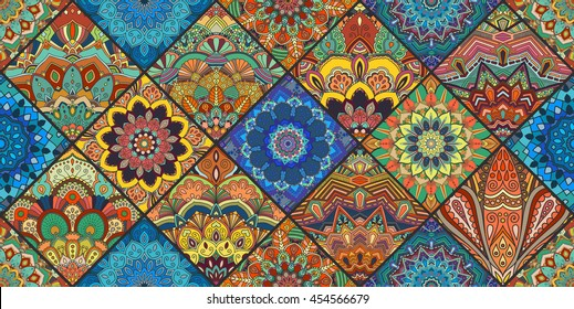 Boho tile seamless pattern background. Colorful patchwork for fabric print furniture, wallpaper, fashionable textile. Square design elements Unusual flower ornament. Vector oriental mandala decoration