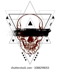 Boho triangle abstract geometric design with inside a RGB skull with black brushstroke. Vector illustration in the style of modern tattoos.