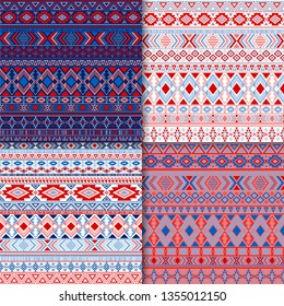 Boho tribal ethnic motifs geometric patterns set. Bohemian tribal motifs clothing fabric textile ethno prints traditional design. Native american folk fashion prints.