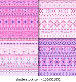 Boho tribal ethnic motifs geometric patterns set. Abstract tribal motifs clothing fabric textile ethno prints traditional design. Native american folk fashion prints.