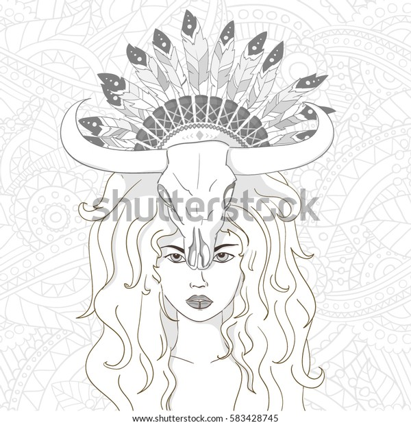 Boho tribal girl with skull and feathers on her head , can be used for coloring book