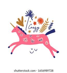 Boho unicorn spring concept. Folk art horse slovak ornament, swedish style drawing, pastel coloured nordic floral composition, scandinavian flower. Vector EPS clip art design