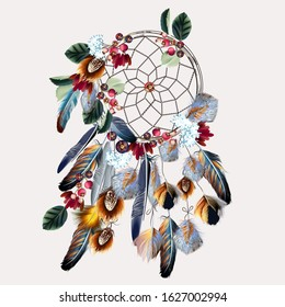 Boho vector fashion illustration with dreamcatcher, colorful feathers, leaves