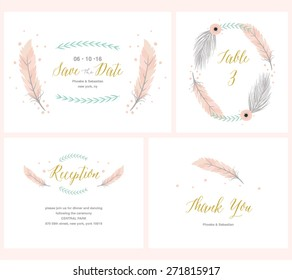 Boho Wedding collection with reception card, thank you card,table card and save the date invitation