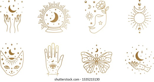 Boho Witch and Magic Collection with butterfly, hand, cat, horned god, face, crystal ball symbols