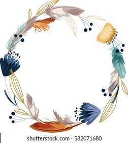 Boho wreath with flower and feathers. Hand drawn vector illustration.