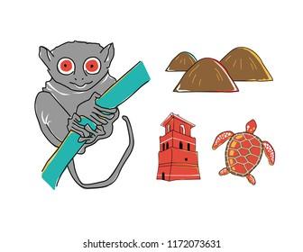 Bohol landmark icons philippines tarsier