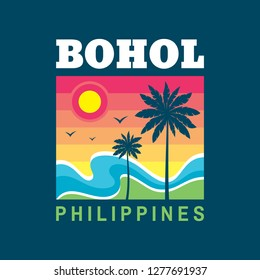 Bohol Philippines - vector illustration concept in retro vintage graphic style for t-shirt and other print production. Palms, sun, beach, sea wave. Badge logo design. Summer travel vacation. Paradise.