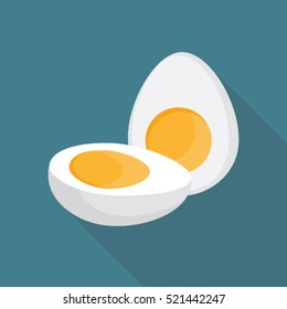 Boiled egg cut into half flat style with long shadow on blue background.
