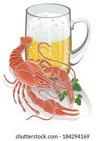 Boiled ready cancer with parsley lies close with a Cup of foamy beer. Gastronomic picture. Vector illustration