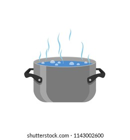Boiled water in the pot, vector illustration isolated on white background, cartoon flat illustration